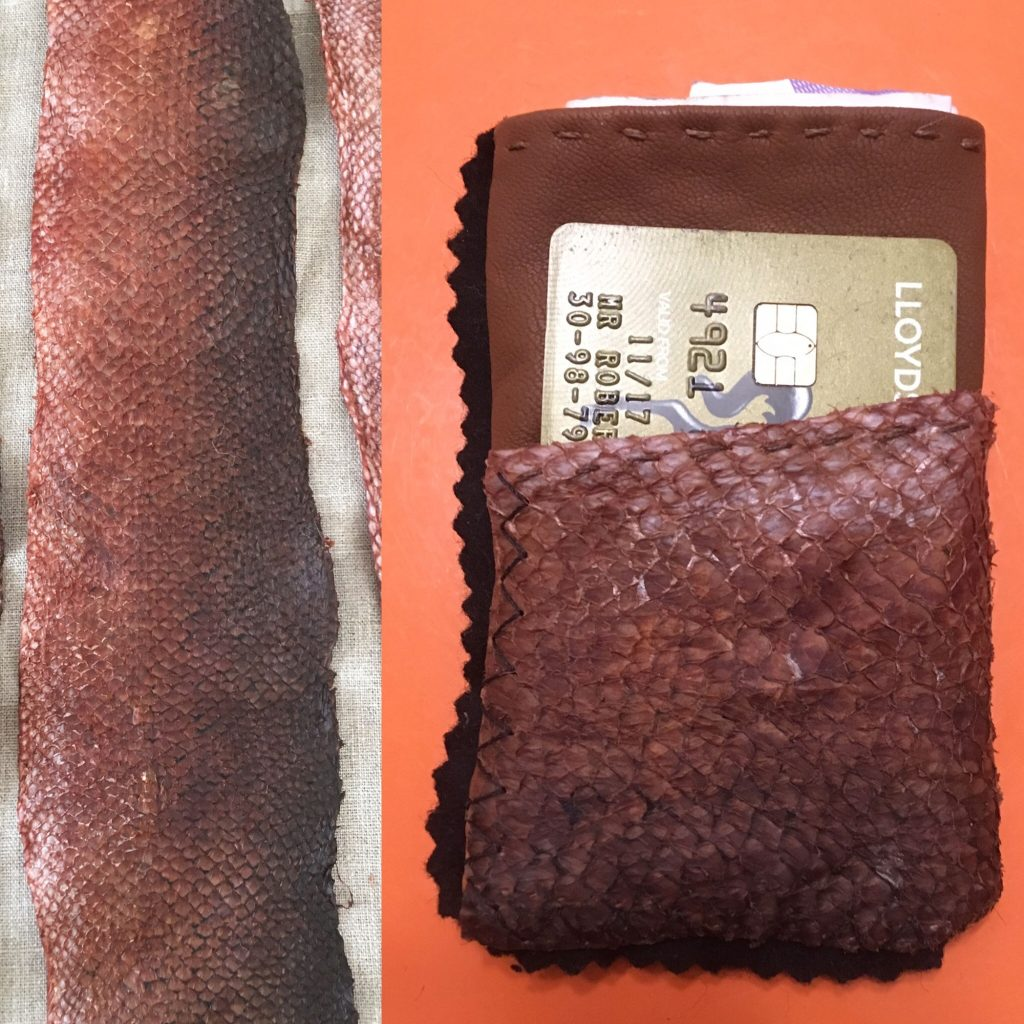 Birch Bark Salmon Leather Card Wallet