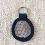 Grey Carp Fish Leather Keychain