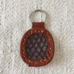 Taupe Carp Fish Leather Keyring